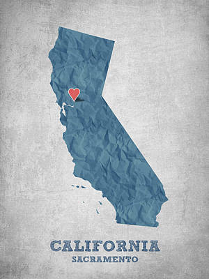 I Love Sacramento California - Blue Print by Aged Pixel