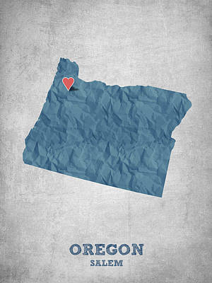 Oregon State Drawing - I Love Salem Oregon- Blue by Aged Pixel