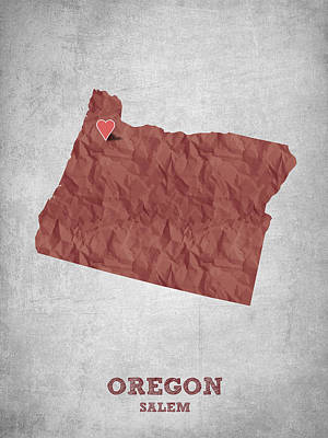 Oregon State Drawing - I Love Salem Oregon- Red by Aged Pixel