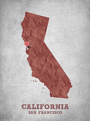 World Map Poster Digital Art - I Love San Francisco California - Red by Aged Pixel