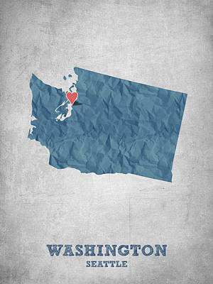 World Map Poster Digital Art - I Love Seattle Washington- Blue by Aged Pixel