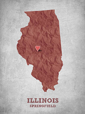 I Love Springfield Illinois - Red Art Print by Aged Pixel