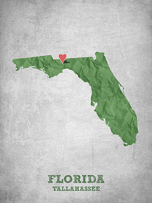 Florida State Digital Art - I Love Tallahassee Florida - Green by Aged Pixel