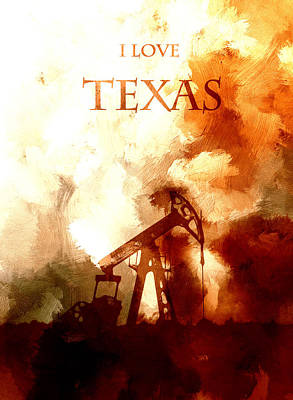 Lone Star State Painting - I Love Texas by Steve K