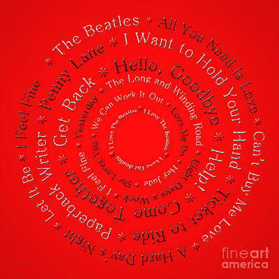 Digital Art - I Love The Beatles 1 by Andee Design