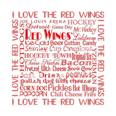 Digital Art - I Love The Red Wings Pillow 1 by Andee Design