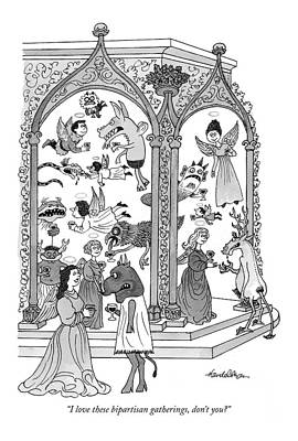 Angels Drawing - I Love These Bipartisan Gatherings by J.B. Handelsman