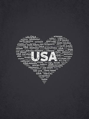Usa United States Mixed Media - I Love Usa by Aged Pixel