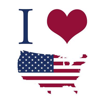 I Love America Digital Art - I Love Usa by Gina Dsgn