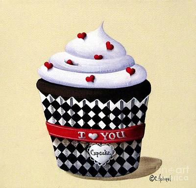Folk Painting - I Love You Cupcake by Catherine Holman