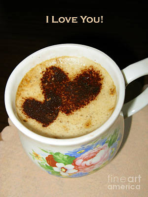 I Love You. Hearts In Coffee Series Print by Ausra Huntington nee Paulauskaite