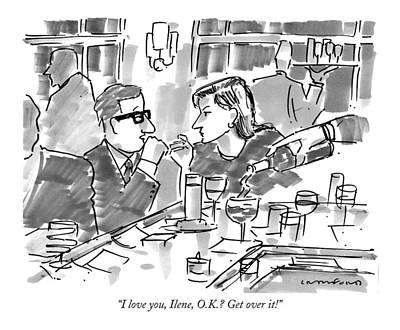 Glass Drawing - I Love You, Ilene, O.k.? Get Over It! by Michael Crawford