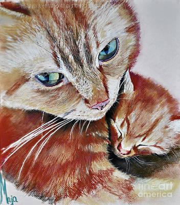 Pet Care Drawing - I Love You Mommy by Maja Sokolowska