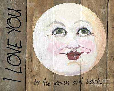 Moonface Painting - I Love You To The Moon And Back Moon Face Stars by Sylvia Pimental