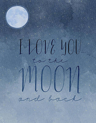 I Love You To The Moons Art Print by Amy Cummings