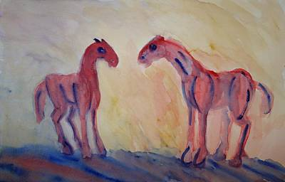 Mutual Painting - I Love You Too But I Love Them Also  by Hilde Widerberg