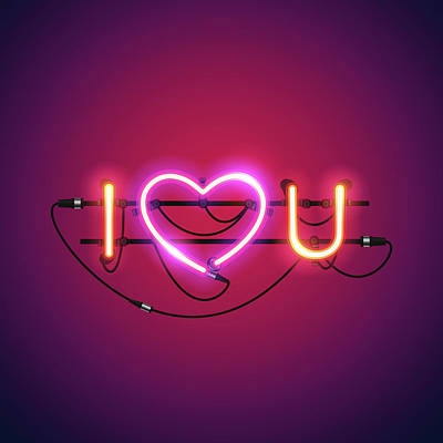 Digital Art - I Love You With Pink Heart Neon Sign by Voysla