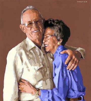 Loving Couple Wall Art - Painting - I Married Pj by Douglas Simonson