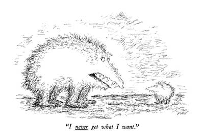 Furry Drawing - I Never Get What I Want by Edward Koren