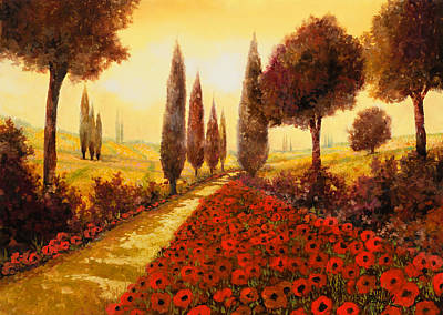 Fields Painting - I Papaveri In Estate by Guido Borelli
