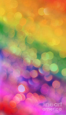Digital Art - I Phone Case / Wall Art - Bright Rainbow With Bokeh by Debbie Portwood