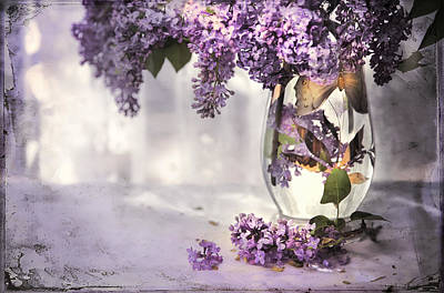 I Picked A Bouquet Of Lilacs Today Art Print by Theresa Tahara