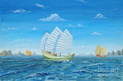 Painting - I Saw Three Ships by Anthony Lyon