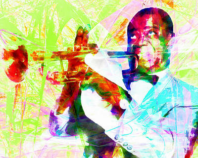 Trumpet Digital Art - I See Trees Of Green Red Roses Too Louis Armstrong 20141218wcstyle Yp28 by Wingsdomain Art and Photography