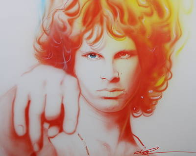 Flower Power Painting - Jim Morrison - ' I See Your Hair Is Burning ' by Christian Chapman Art