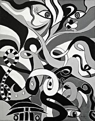 Painting - Black And White Acrylic Painting Original Abstract Artwork Eye Art  by Ai P Nilson