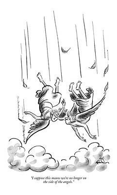 Falling Drawing - I Suppose This Means We're No Longer On The Side by Ed Fisher