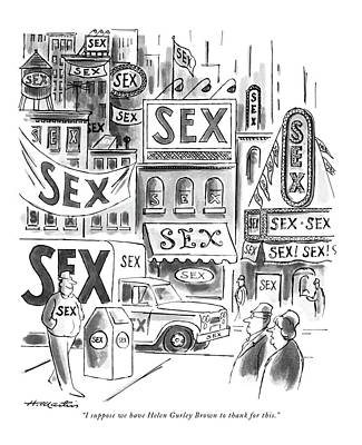 Storefront Drawing - I Suppose We Have Helen Gurley Brown To Thank by Henry Martin