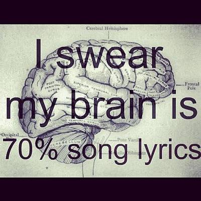 I Swear My Brain Is 70% Song Lyrics Art Print