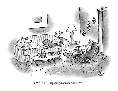 Olympics Drawing - I Think His Olympic Dreams Have Died by Frank Cotham