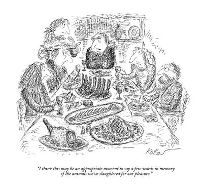 Banquet Drawing - I Think This May Be An Appropriate Moment To Say by Edward Koren
