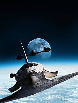 Space Ships Digital Art - I Think We're Being Followed by Peter Chilelli