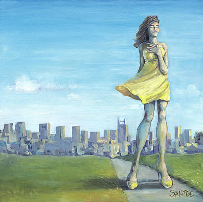 Nashville Skyline Painting - I Thought Of You Today by Andrea Santee