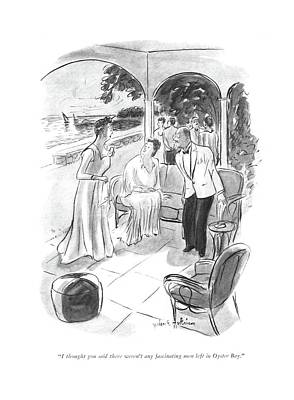 Garden Party Drawing - I Thought You Said There Weren't Any Fascinating by Helen E. Hokinson