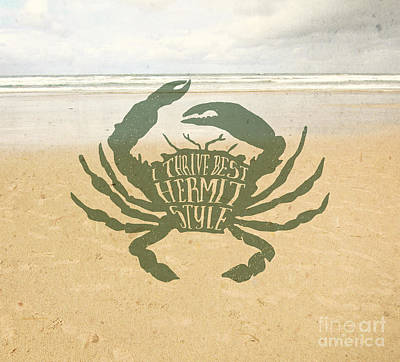 Beach Shell Sand Sea Ocean Photograph - I Thrive Best Hermit Style Typography Crab Beach Sea by Beverly Claire Kaiya