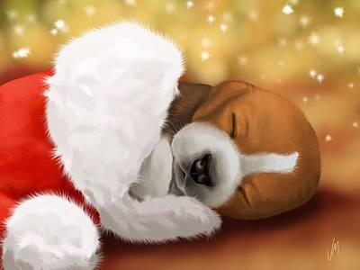 Sleeping Puppy Painting - I Wait... by Veronica Minozzi