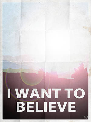 X-files Digital Art - I Want To Believe Light by Filippo B