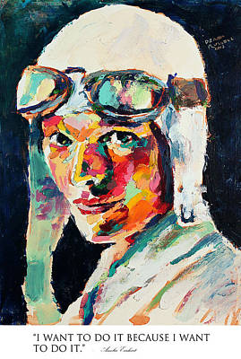 Derek Russell Wall Art - Painting - I Want To Do It Because I Want To Do It Amelia Earhart by Derek Russell