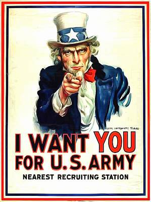 Uncle Sams Hat Painting - I Want You For U S Army by US Army WW I Recruiting Poster