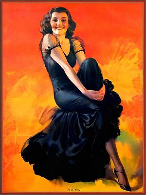 Sex Symbol Digital Art - I Will Be Waiting Pin Up Model by Rolf Armstrong