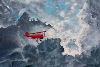 Bi-plane Painting - I Will Fly Away    O Glory by Cynthia Christine