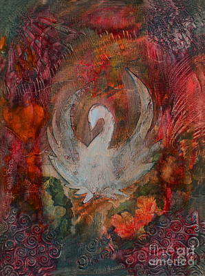 Swan Mixed Media - I Will Rise by Nancy TeWinkel Lauren