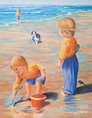 Dog Play Sea Painting - I Wish There Were Three Of Me by Judy Neebel