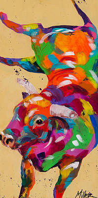 Bucking Bull Painting - I Won by Tracy Miller
