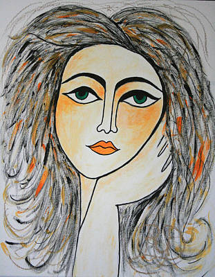 Picasso Style Painting - I Wonder And Ponder..... by Renate Dartois