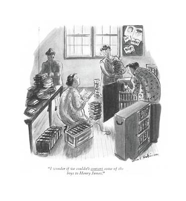 Two Ladies Drawing - I Wonder If We Couldn't Convert Some Of The Boys by Helen E. Hokinson